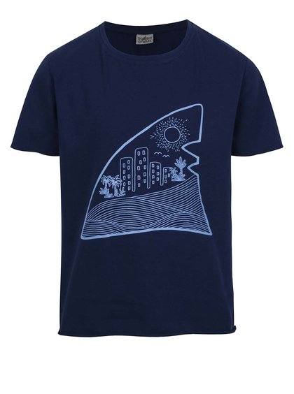 Tricou bleumarin cu print Shark in the park