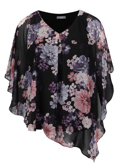 Růžovo-černá květovaná volná halenka M&Co