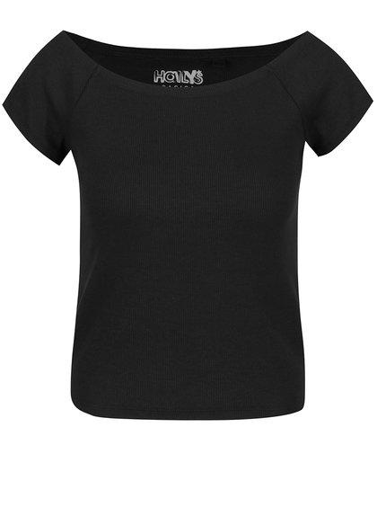 Černé tričko s lodičkovým výstřihem Haily´s Carlita