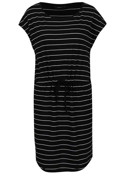 Rochie neagră ONLY May cu model în dungi
