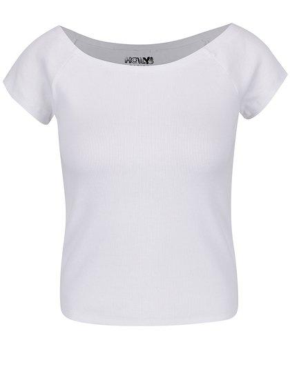 Top alb Haily´s Carlita cu decolteu bărcuță