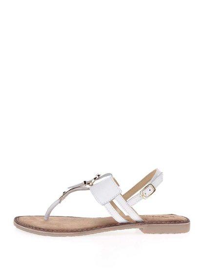 Sandale flip-flop alb fildeș din piele Tamaris