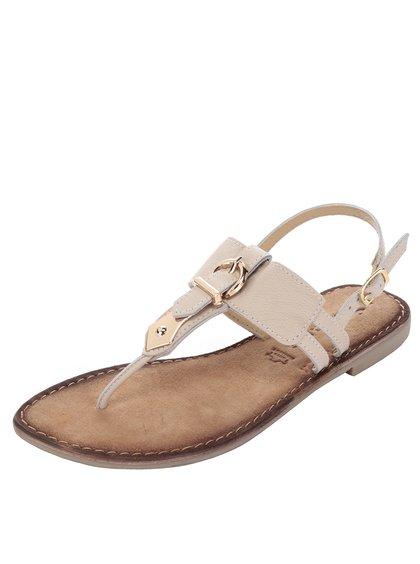 Sandale flip-flop bej din piele Tamaris
