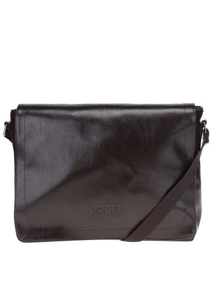 Geanta pentru laptop maro cu logo Solier