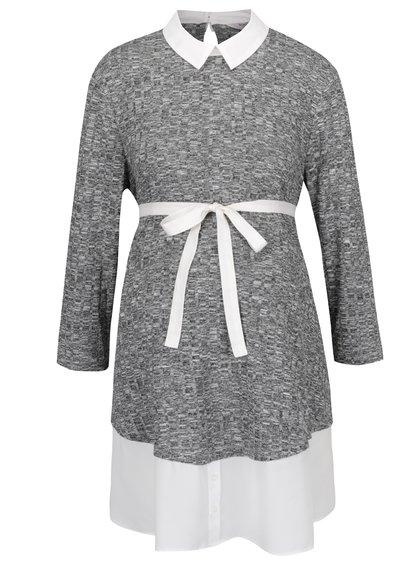 Bluză gri melanj cu guler ascuțit Dorothy Perkins Maternity pentru gravide