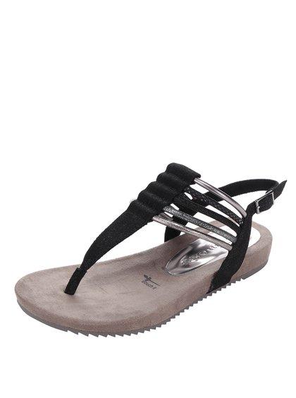Černé sandály s pásky ve stříbrné barvě Tamaris