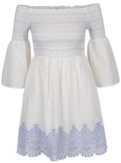 Bílé šaty se zvonovými rukávy Miss Selfridge