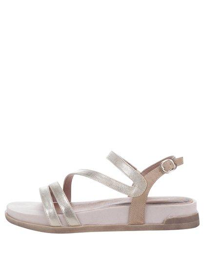 Sandale crem&argintii din piele cu platformă Tamaris