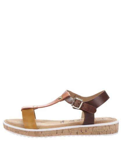 Sandale multicolore din piele Tamaris