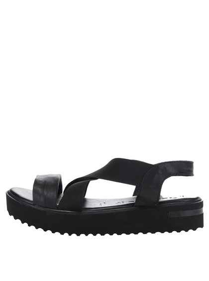Černé kožené sandály na platformě s elastickými pásy Tamaris