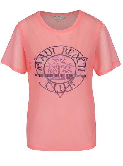Růžové síťované tričko s potiskem Miss Selfridge