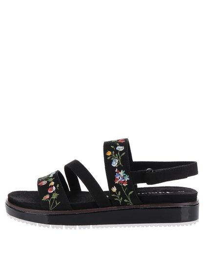 Sandale negre cu platformă și broderie Tamaris