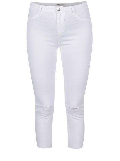 Bílé zkrácené skinny džíny s potrhaným efektem TALLY WEiJL