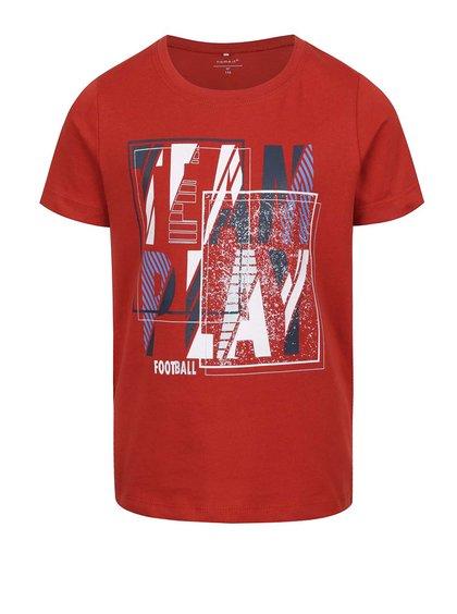 Tricou roșu cu print pentru băieți name it  Victorhox