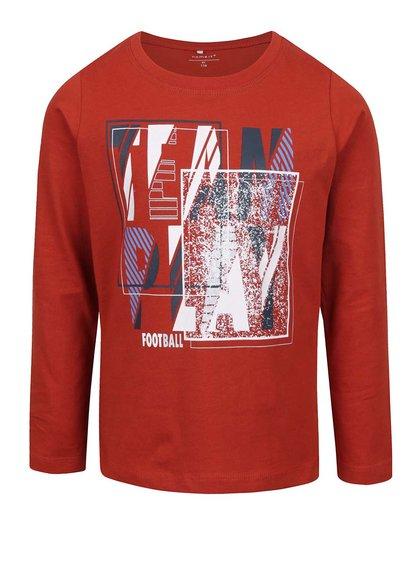 Bluză roșie cu print pentru băieți name it Victorhox