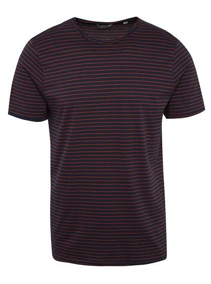 Tricou roșu&albastru ONLY & SONS Albert Stripe în dungi