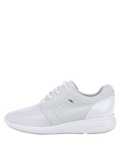 Pantofi sport albi cu detalii din piele întoarsă Geox Ophira