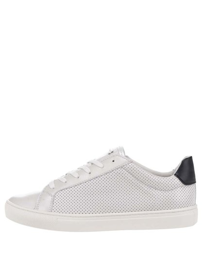 Pantofi sport albi Geox Trysure din piele cu model cu perforații