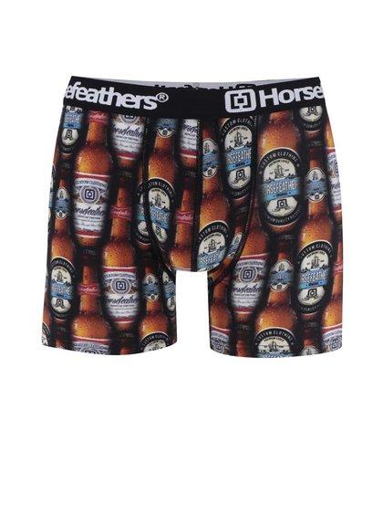 Černo-hnědé pánské boxerky s potiskem pivních lahví Horsefeathers Sidney