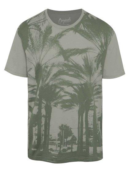 Šedo-zelené triko s potiskem Jack & Jones Malibu