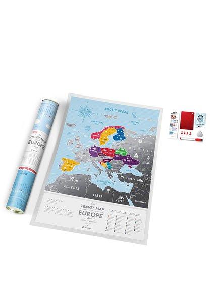 Harta răzuibilă a Europei Travel Map