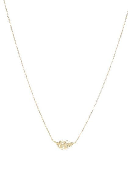 Řetízek ve zlaté barvě s přívěskem listu Pieces Elsa