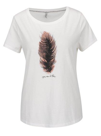 Krémové tričko s potiskem ONLY Alba
