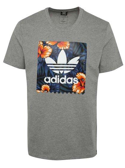 Šedé žíhané pánské triko s potiskem adidas Originals