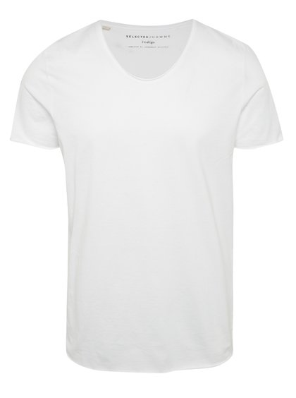 Tricou alb Selected Homme Newmere