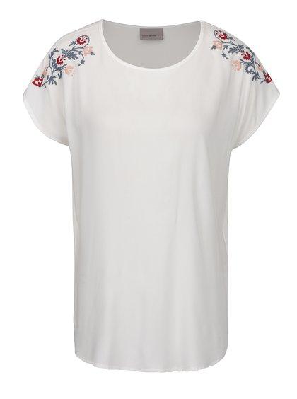 Tricou alb fildeș vaporos cu broderie VERO MODA Ember