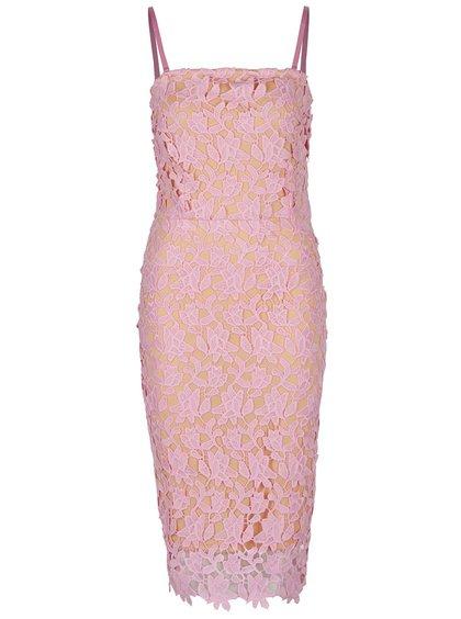 Růžové krajkové šaty VERO MODA Beauti