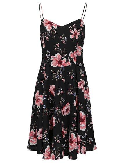 Růžovo-černé květované šaty VERO MODA Mona