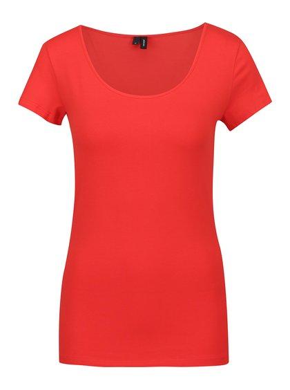 Červené basic tričko s krátkým rukávem VERO MODA Maxi