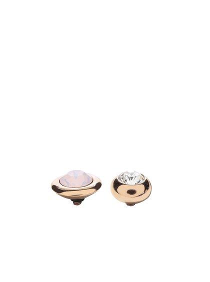 Ozdobná část prstenu v růžovozlaté barvě s růžovým a bílým kamínkem Qudo Famosa