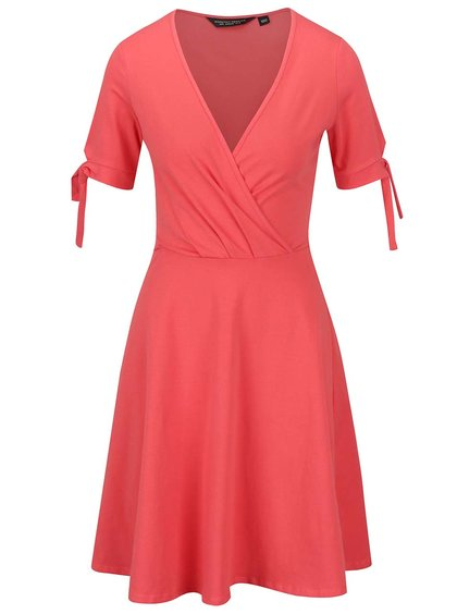 Korálové šaty s překládaným výstřihem Dorothy Perkins