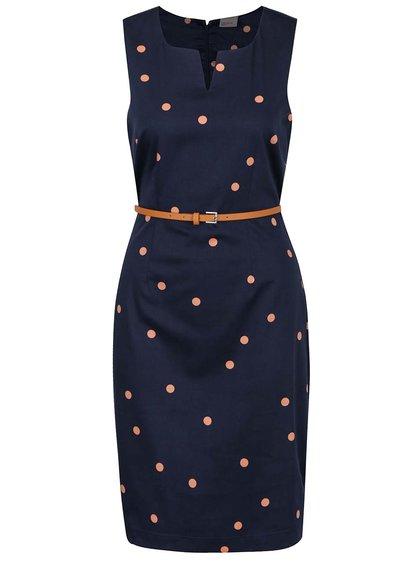 Modré puntíkované pouzdrové šaty s páskem VERO MODA Pekaya