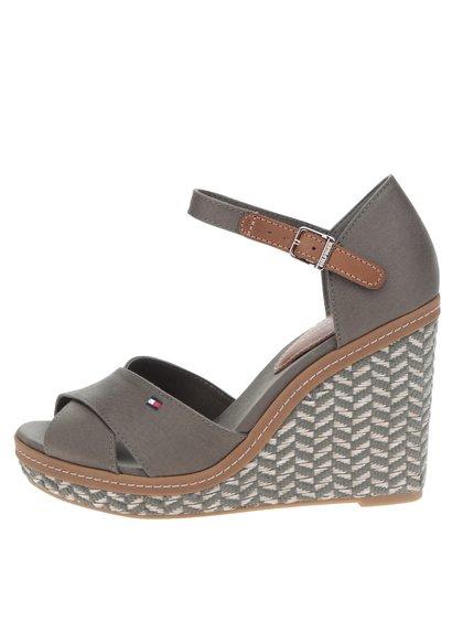 Zelené dámské sandály na klínku Tommy Hilfiger