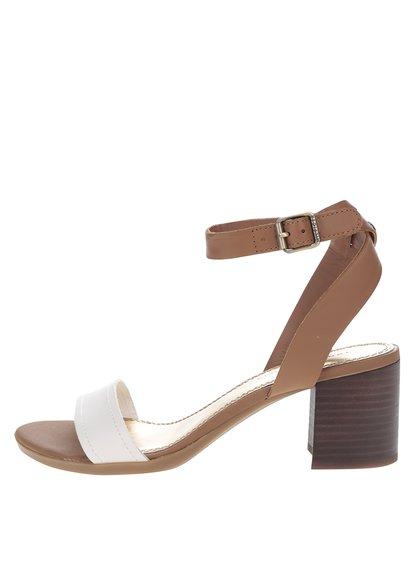 Krémovo-hnědé dámské kožené sandálky Tommy Hilfiger