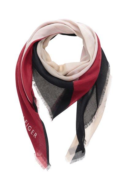 Dámský šátek v béžové, modré, červené a šedé barvě Tommy Hilfiger