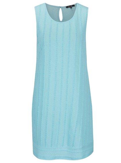 Modré šaty bez rukávů s jemným plastickým vzorem Yest