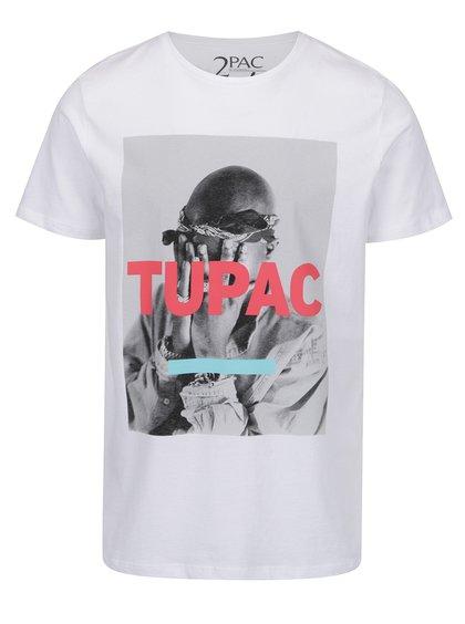 Tricou alb cu print Jack & Jones