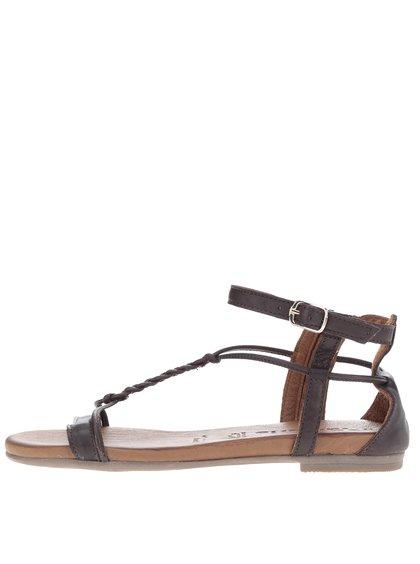 Sandale maro din piele cu călcâi acoperit Tamaris