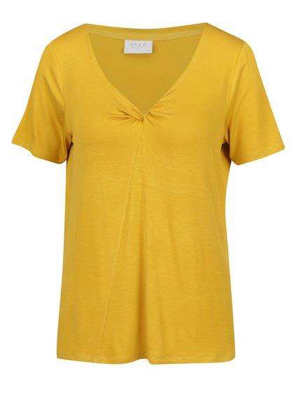 Tricou galben VILA Nene cu nod decorativ