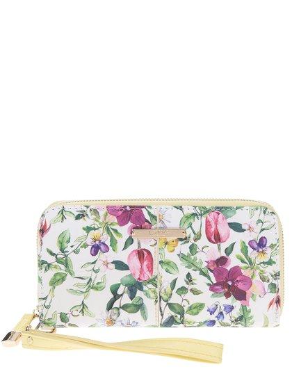 Krémová peněženka s květinovým potiskem LYDC