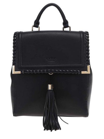 Černý koženkový batoh s třásněmi LYDC