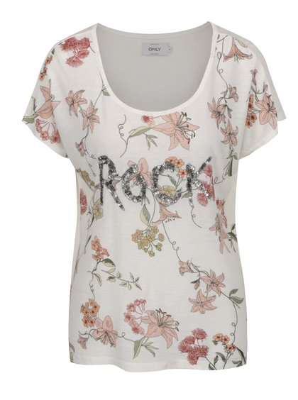 Krémové volné květované tričko s příměsí lnu ONLY Iris