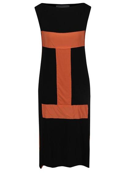 Rochie neagră midi cu patchwork portocaliu Alexandra Ghiorghie Lilian
