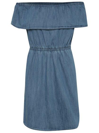 Modré džínové šaty s odhalenými rameny Miss Selfridge Petites