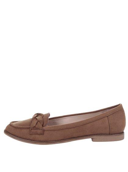 Pantofi loager maro Dorothy Perkins cu detaliu împletit
