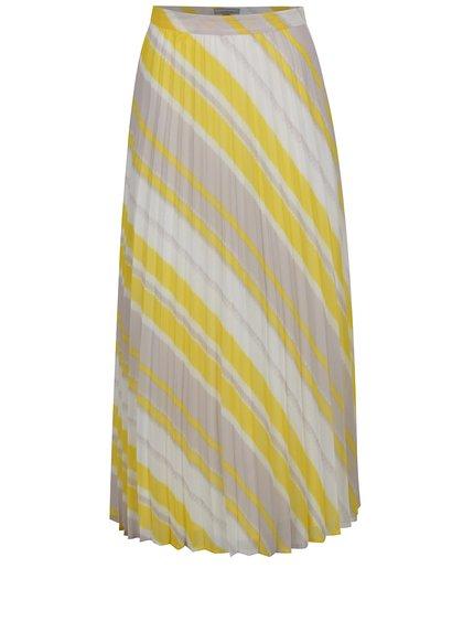 Krémovo-žlutá plisovaná maxi sukně s pruhy Dorothy Perkins Petite